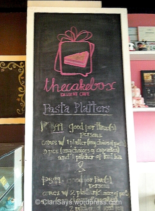 The Cake Box Menu
