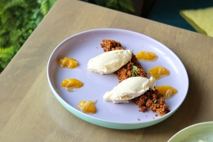 Deconstructed Anise Cheesecake (PHP245) – anise cream cheese, ginger graham crumbs