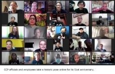 CCP officials and employees take a historic pose online for its 51st anniversary.